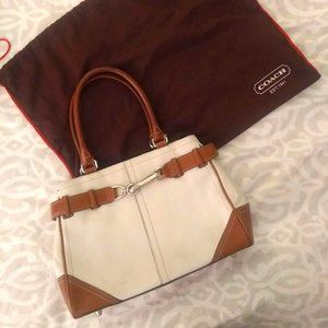 Coach White & Brown Leather Two Handle Purse